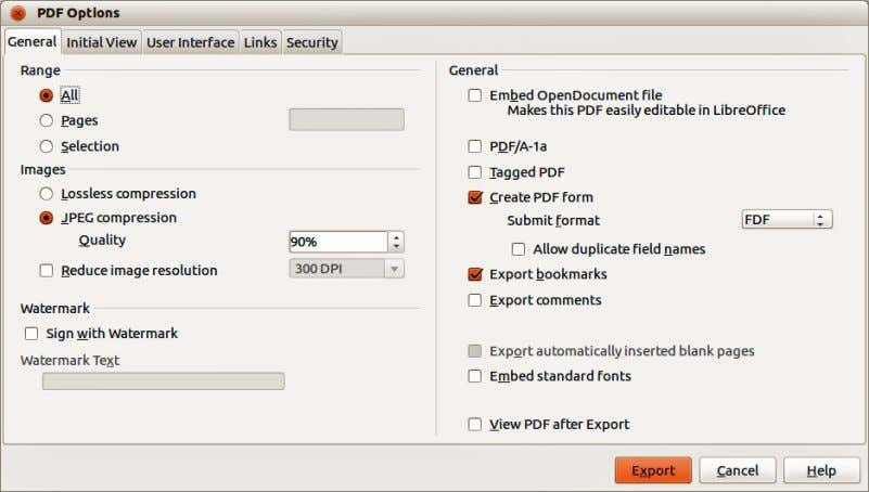 See the Getting Started guide for more information. Figure 229: PDF Options dialog Other formats LibreOffice