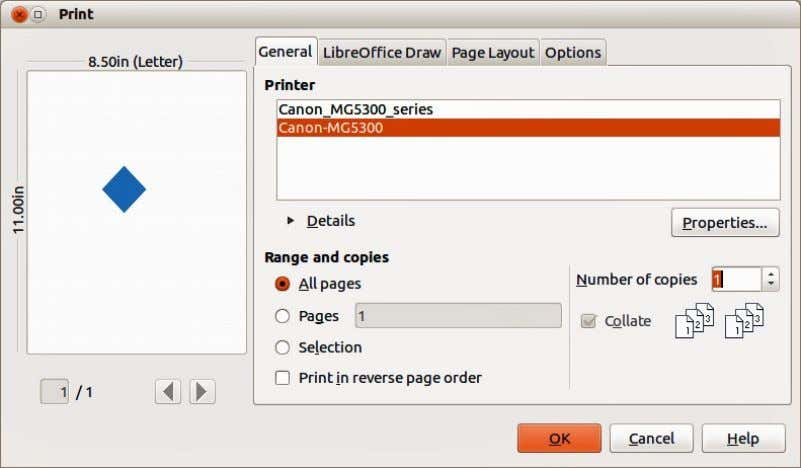 Print dialog displayed will depend on your computer setup. Figure 222. Print dialog – General page