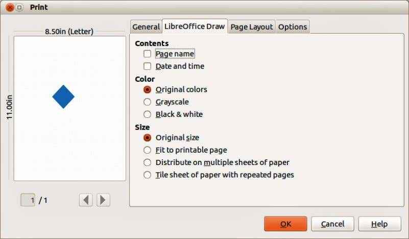 or print the drawing as multiple tiles on a sheet of paper. Figure 223. Print dialog