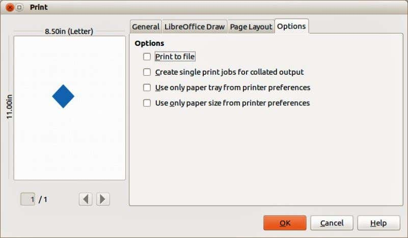 or use the paper size specified in the printer preferences. Figure 225. Print dialog – Options