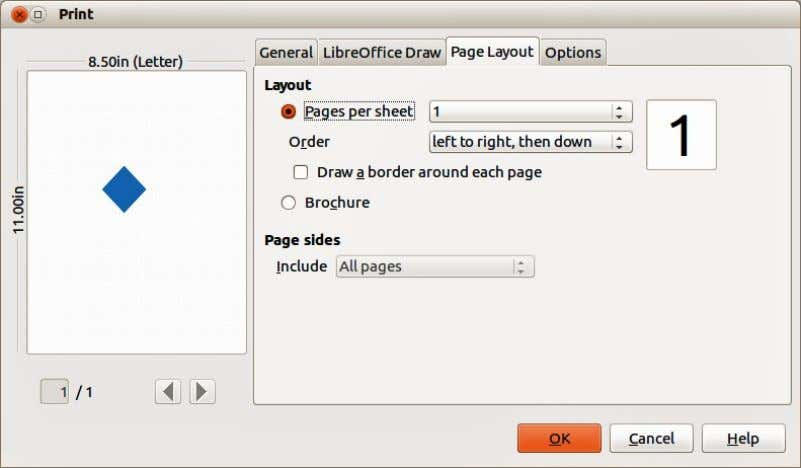 Figure 224. Print dialog – Page Layout page Options page On the Options page (Figure