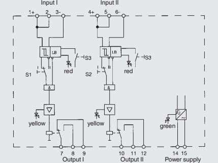 Input I Input II red red yellow yellow green Output I Output II Power supply