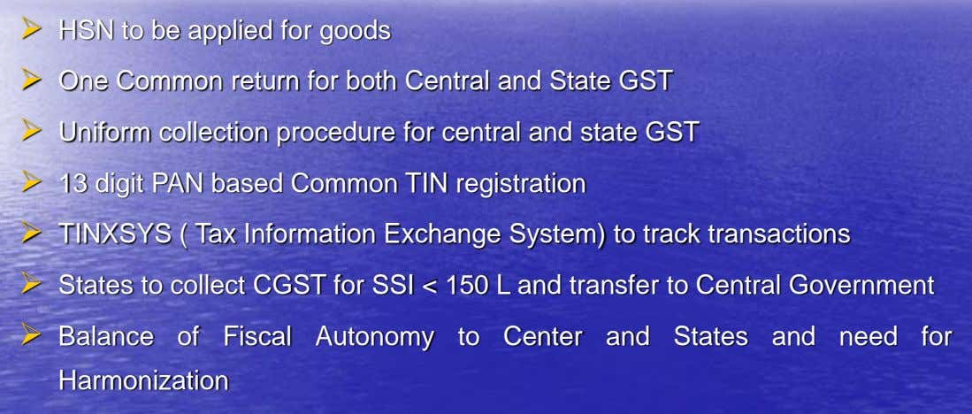  HSN to be applied for goods  One Common return for both Central and State