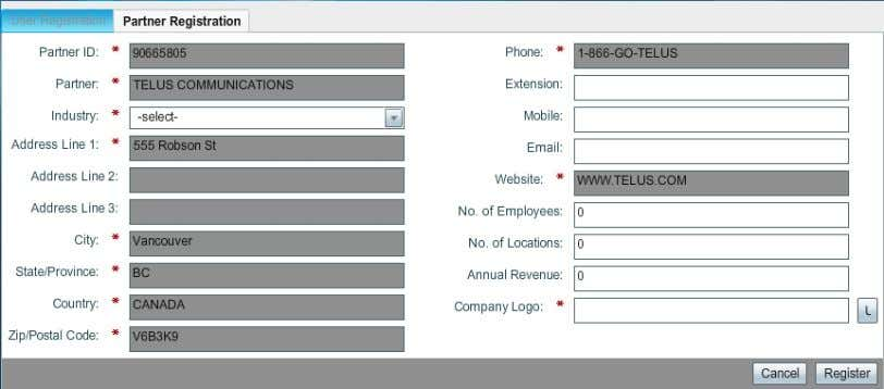 Figure 2 Registration Page Step 5 In the Partner ID field, enter any number that you