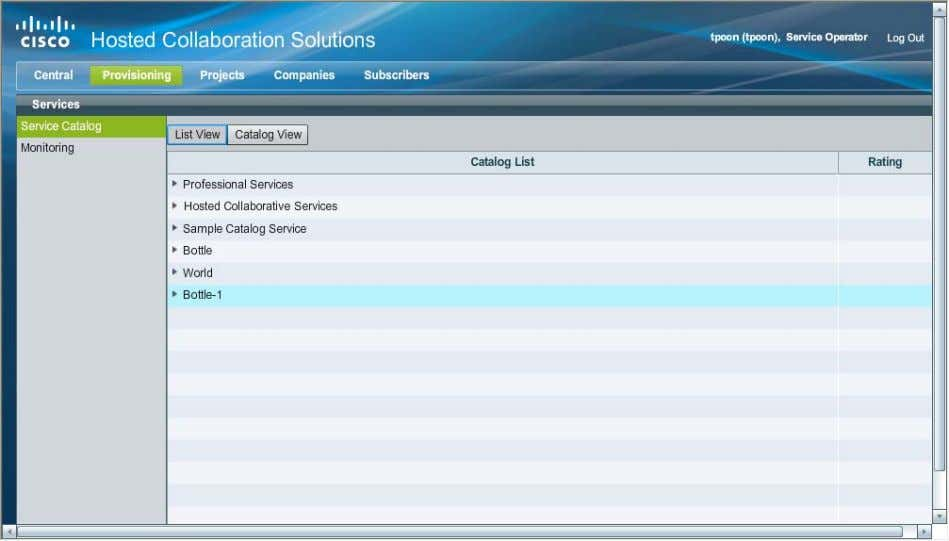 Figure 4 On the toolbar, click Provisioning . Services Page Step 3 In the List View