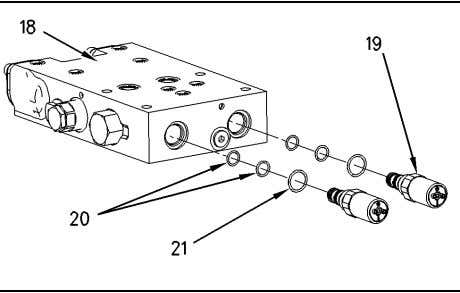 209 g00746809 11. Remove quick coupler valve (18). Illustration 210 g00838555 12. Remove solenoids (19) from
