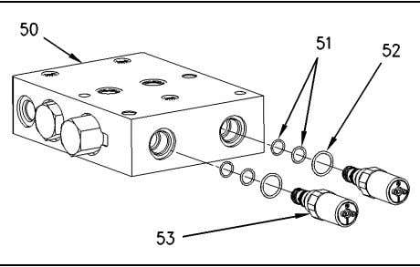 valve (50) for the three-point hitch from the valve stack. Illustration 221 g00747009 23. Remove solenoids