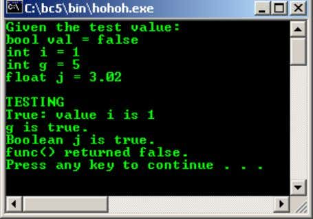 return false; //false is converted to 0 } Output: Example #10 //Testing the escape sequences #include