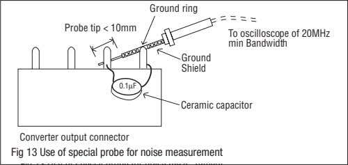 Ground ring Probe tip < 10mm To oscilloscope of 20MHz min Bandwidth Ground Shield 0.1µF