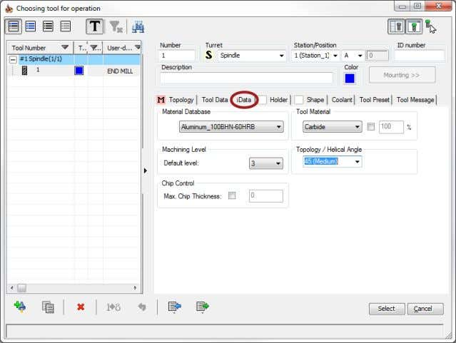 down values generated by the iMachining Technology Wizard. Helical Angle Click the Select button to confirm