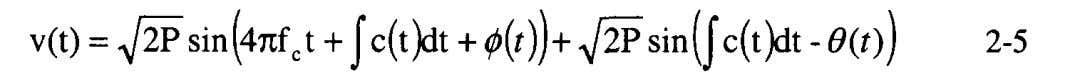 lowpass filter is After performing trigonometric reductions, Notice that the last term of Equation 2-5 represents