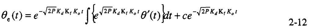 2-10, this into Equation 2-11 yields so substituting where c is a constant For most phase-locked