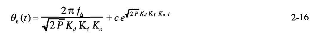 For this input, and the solution of Equation 2-10 is With at time the initial error,