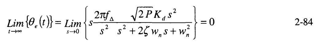 is obtained from the final value theorem and Equation 2-75, This is the advantage of using