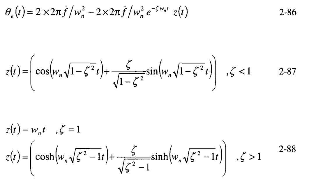 Laplace transform of and 2-75; then performing the inverse The steady-state response to the frequency ramp