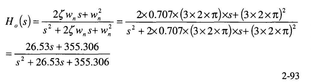 for the second order active filter, Equation 2-67, we obtain The error response is computed using