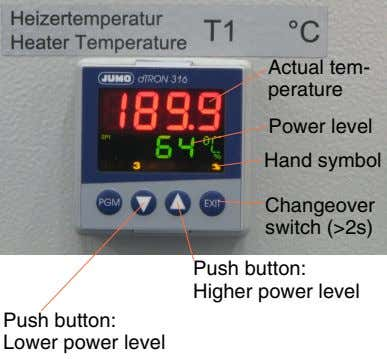 Actual tem- perature Power level Hand symbol Changeover switch (>2s) Push button: Higher power level