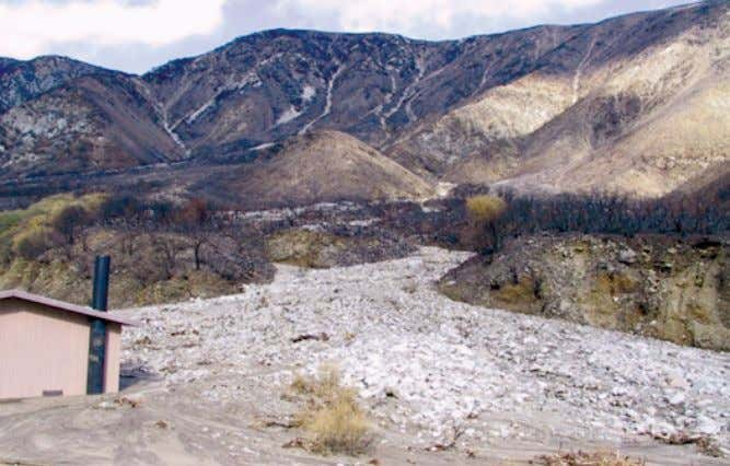 burning by fires make this soil more prone to debris flows. Figure C34. Lytle Creek, California,