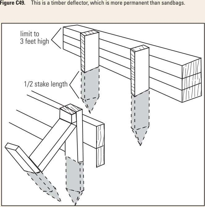 Figure C49. This is a timber deflector, which is more permanent than sandbags. limit to