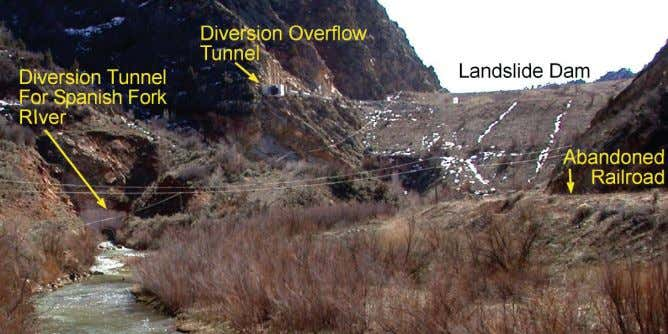 The Landslide Handbook—A Guide to Understanding Landslides Figure C54. Thistle landslide dam, showing the tunnel for