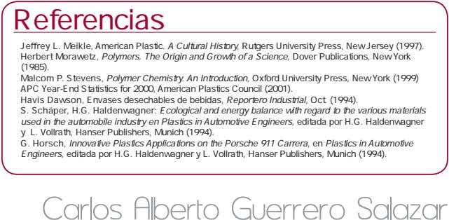 Referencias Jeffrey L. Meikle, American Plastic. A Cultural History, Rutgers University Press, New Jersey (1997).