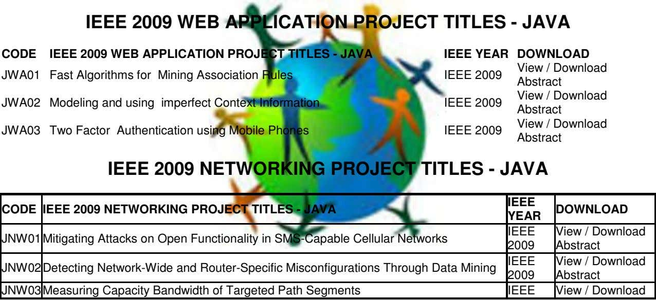 IEEE 2009 WEB APPLICATION PROJECT TITLES - JAVA CODE IEEE 2009 WEB APPLICATION PROJECT TITLES