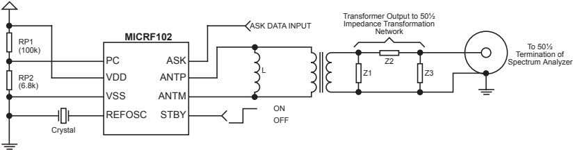 ASK DATA INPUT Transformer Output to 50½ Impedance Transformation Network MICRF102 RP1 To 50½ (100k)