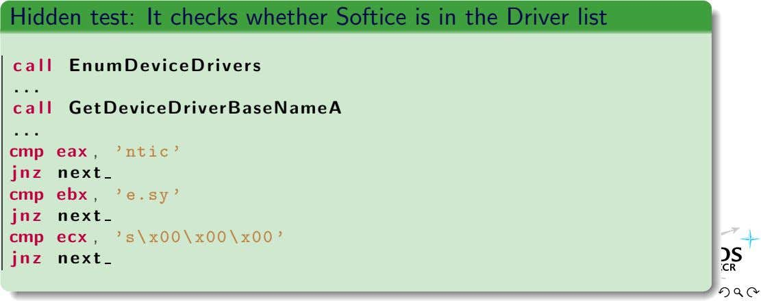 Hidden test: It checks whether Softice is in the Driver list c a l l