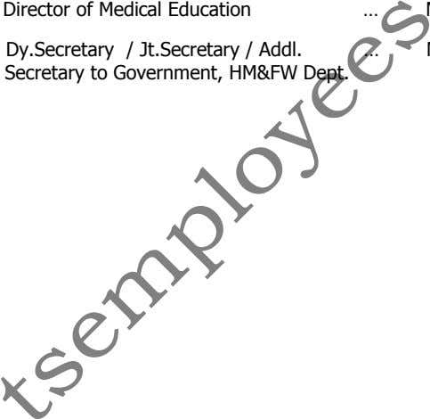 Director of Medical Education … Dy.Secretary / Jt.Secretary / Addl. Secretary to Government, HM&FW Dept.