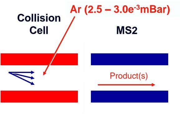Ar (2.5 – 3.0e -3 mBar) Collision Cell MS2 Product(s)