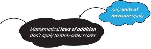 only units of measure apply Mathematical laws of addition don't apply to rank-order scores