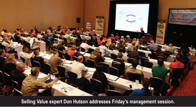 Selling Value expert Don Hutson addresses Friday's management session.