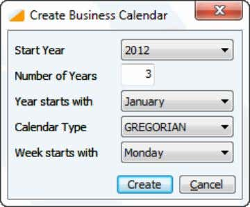 with the use of the Create Business Calendar dialog box: Figure 6: Create Business Calendar dialog