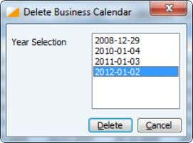 fist. The last deleted one will be 2008-12-29 calendar. 2.1.3.5 Clearing the Business Calendar The Clear