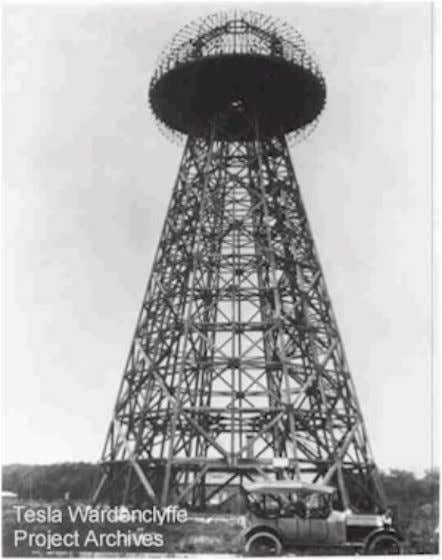 "Tesla's ""wonder tower,"" the first transmission tower in the world, was located less than two"