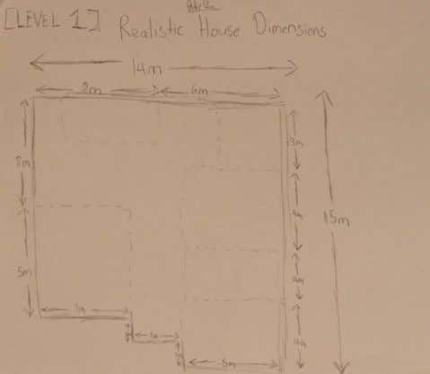 Hand drawn visuals were created to represent the dimensions. Realistic House Dimensions: House dimensions of both