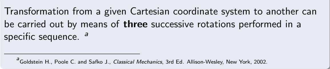 Transformation from a given Cartesian coordinate system to another can be carried out by means