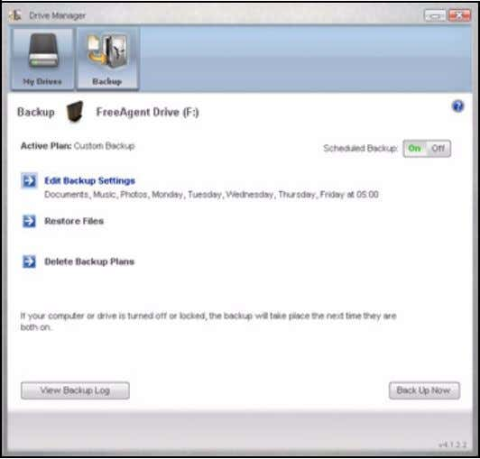 FreeAgent for Windows Figure 15: Backup Deleting a Backup Plan You can delete the Backup Plan
