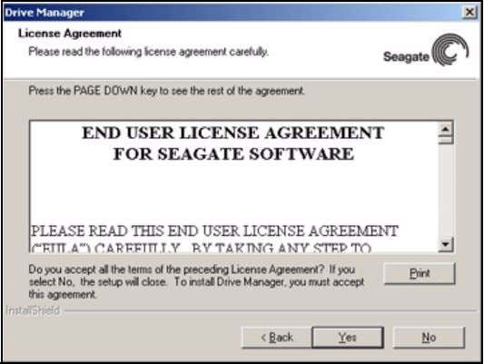 FreeAgent for Windows Figure 4: License Agreement Step 5: Click Yes to accept the terms of