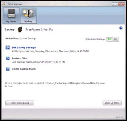 FreeAgent for Windows Figure 20: Backup Viewing the Backup Log The Backup Log is a text-based