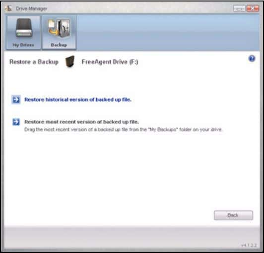 FreeAgent for Windows Figure 25: Restore a File Restoring an Historical Version Step 1. Click Restore