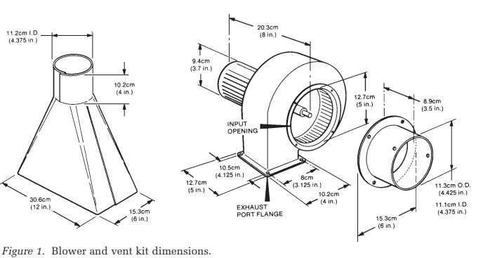Figure 1. Blower and vent kit dimensions.