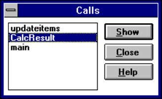 in the course of arriving at the present subroutine. 2. From the Calls dialog box, select
