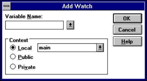 Procedure Editor displays the Add Watch dialog box. 2. Use the controls in the Context box