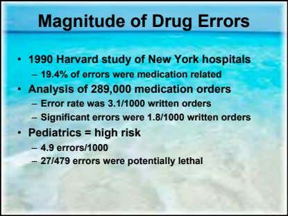 Magnitude of Drug Errors • 1990 Harvard study of New York hospitals – 19.4% of