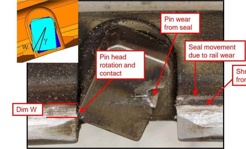 Pin wear from seal Seal movement due to rail wear Pin head rotation and contact