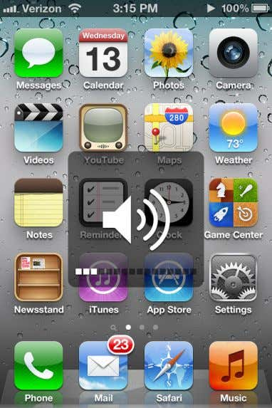 The iPhone 4S Music application also displays a different touch sensitive volume control bar depending