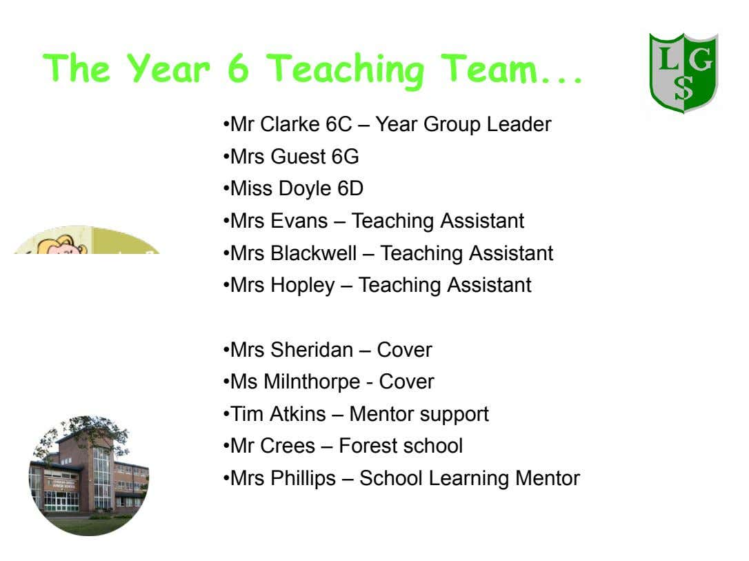 The Year 6 Teaching Team •Mr Clarke 6C – Year Group Leader •Mrs Guest 6G