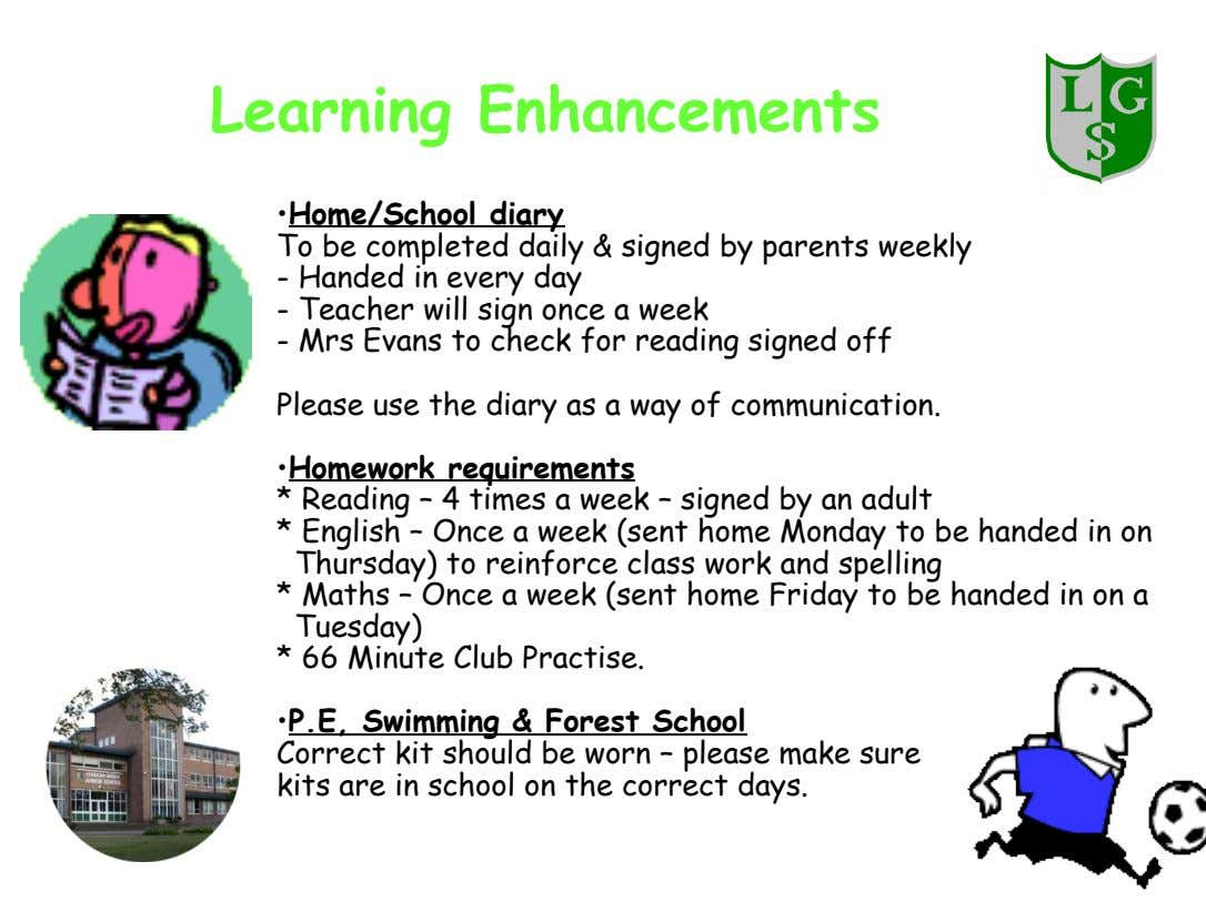 Learning Enhancements •Home/School diary To be completed daily & signed by parents weekly - Handed