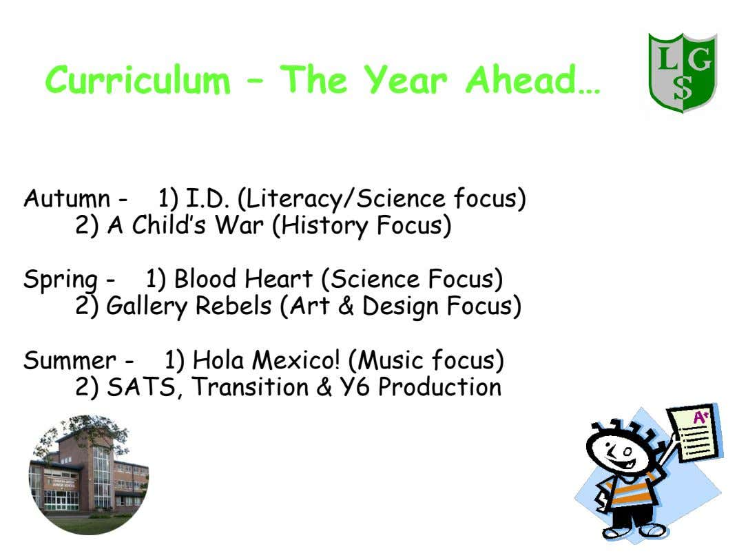 Curriculum – The Year Ahead… Autumn - 1) I.D. (Literacy/Science focus) 2) A Child's War